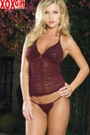Ruched & Sequined Mesh Cami And G-String LA 81078