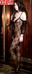 Womens Open Crotch Bow Tie Lace Bodystocking EM 1604