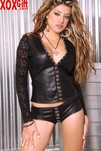 Long Sleeve Leather & Lace Top With Hook & Eye Front. Lace Back. EM L4686
