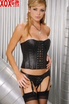 Strapless Black Leather Corset With Lace-Up Front EM L3521