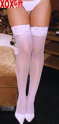 Plus Size Womens Fishnet Stockings With Lace Top EM 1775Q