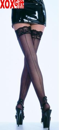 Sheer Thigh High Stockings With Back Seam & Pearl Trimmed Satin Bow EM 9022