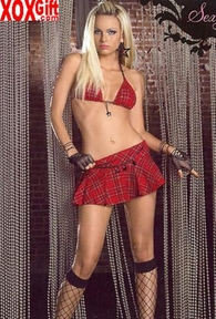 Two Piece School Girl Triangle Plaid Bra Top & Plaid Skirt With Star Charms. LA 28007