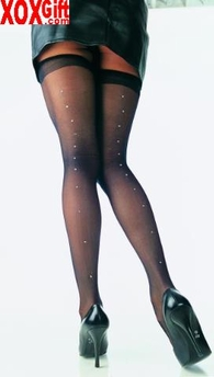 Sheer Thigh High Stockings With Rhinestone Jeweled Backseam EM 1909