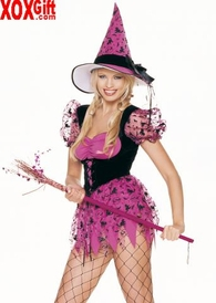 Velvet Flocked Halloween Witch Print Costume LA 83040