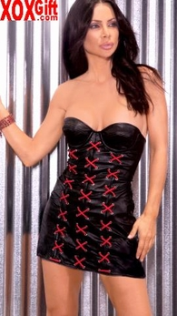 Black Strapless Corset Style Leather Mini Dress With Red Lacing EM L8112