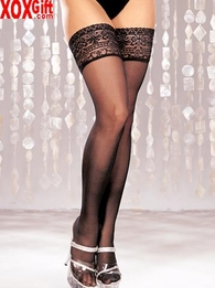 Sheer Thigh High Stockings With Lace Tops 6629