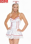 Satin Nurse Minidress & Hat 2 Pc Costume Set LA 8029