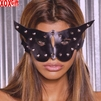 Leather cat mask With stud detail EM L9155