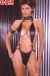 Suspender Style Black Leather Choker Halter Teddy With Arm Band EM L2156