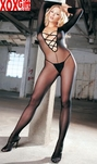 Sheer Long Sleeve Crotchless Bodystocking, Criss-Cross Front LA 8614