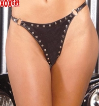 Leather thong With stud trim EM L9556