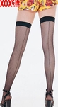 Fishnet Thigh Hi Stockings With Backseam & Elastic Tops LA 9112