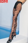 Lycra Sheer French Cut Pantyhose With Jacquard Flowers LA 1300