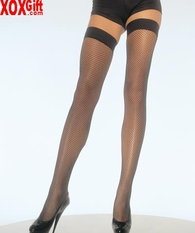 Plus Size Elastic Top Lycra Fishnet Thigh High With Silicone Top LA 1025Q