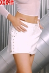 Vinyl Mini Skirt With Zippers, Nail Heads & Pockets EM V6121