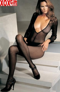 Black Fishnet Crotchless Bodystocking With Long Sleeves & Deep V Cut Front LA 8378