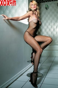 Black Industrial Fishnet Crotchless Bodystocking With Pink Trim LA 89014