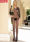 Seamless Long Sleeves Fishnet Open Crotch Bodystocking With Lace Up Front LA 8296