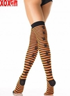 Halloween Striped Thigh High Stockings!  Orange & Black With Spiders! LA 6288