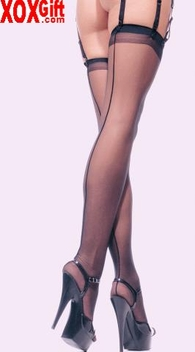 Plus Size Sheer Nylon Backseam Thigh High Stockings LA 1000Q