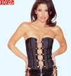 Strapless Denim Corset With Buckled Front & Vinyl Seams LA V5822