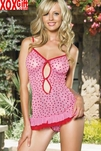 Flocked Heart Mesh Mini Dress With G-String LA 81081