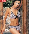 Two-Tone Rhumba Bikini Top & Shorts With Satin Bows LA 81026