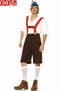 Men's Suspender Shorts Lederhosen Euro Boy Costume LA 83240