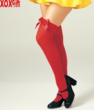Opaque Thigh High With Satin Bow LA 6255
