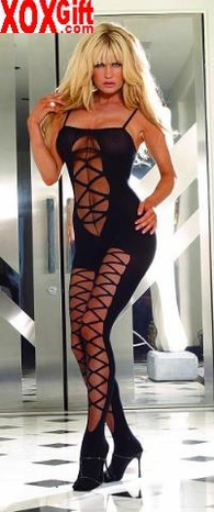 Mock lace up front  & legs opaque open crotch body stocking EM 8791
