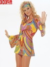 Hippie Print Long Bell Sleeved Mini Dress & Headband LA 8630