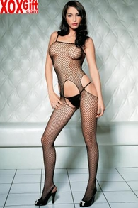 Black Crotchless Bodystocking In Seamless Industrial Fishnet LA 89016
