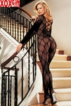 Stretch Lace Long Sleeve Crotchless Bodystocking R 90006