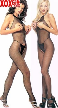 Seamless Fishnet Halter Bodystocking With Open Bust & Open Crotch LA 8350