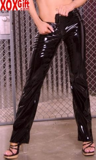 Vinyl pants With zipper and snap closure,shown With V4121 EM V9206