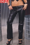 Low rise leather pants With zipper front, shown With L9239,L9176 & L9465 EM L9121