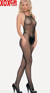 Seamless Fishnet Halter Open Crotch V Back Bodystocking LA 8933