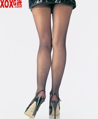 Sheer Pantyhose With Rhinestone Studded Back Seam LA 9909