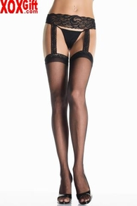 Sheer Thigh High Stockings With Lace Garter Belt LA 1767