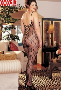Plus Size Crotchless Bodystocking With Stretch Lace With Criss-Cross Open Back X6621