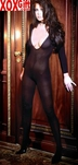 Womens Open Crotch Opaque Long Sleeve Bodystocking  EM 1606