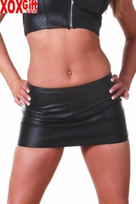 Black Leather Mini Skirt AL 13-602