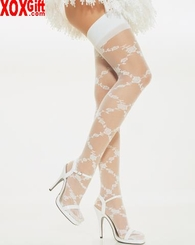 Sheer Thigh High Stockings With Diamond Pattern Floral Lace  LA 9700
