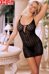 Embroidered Stretch Chemise With G-String R 90046