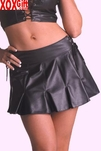 Black Leather Pleated Lace-Up Mini Skirt AL 13-605