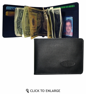 Leather Acrobat Money Clip Bi-Fold Wallet