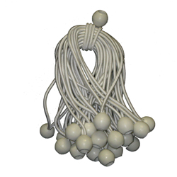 "6"" White Ball Bungee Tarp Ties 50 Pc."