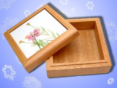 WOOD KEEPSAKE BOX WITH PHOTO TILE - Unlined
