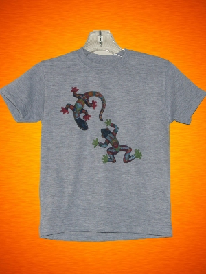 FOLK ART FROG AND LIZARD T-SHIRT